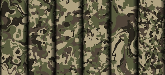 Variety army camouflage clothing pattern vector