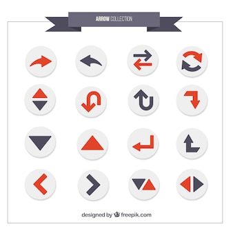Variety of arrows in grey and red colors