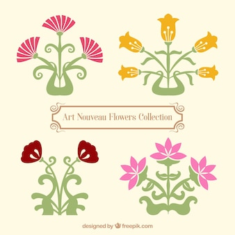 Variety of art nouveau flowers