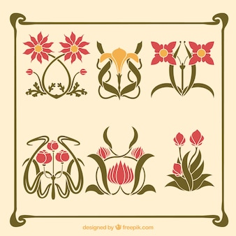 Variety of artistic flowers in art nouveau style