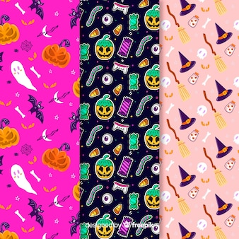 Variety of background colours with halloween pattern