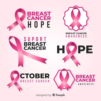 Variety of badges for breast cancer awareness month