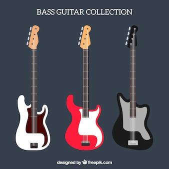 Variety of bass guitars