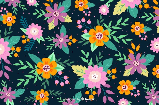 Variety of beautiful flowers background