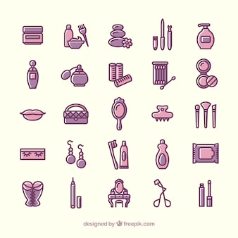Variety of beauty icons Free Vector