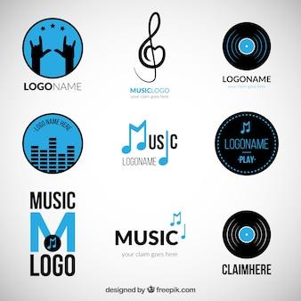 Variety of blue music logos