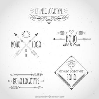 Variety of boho logos in flat design