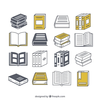 Variety of book icons