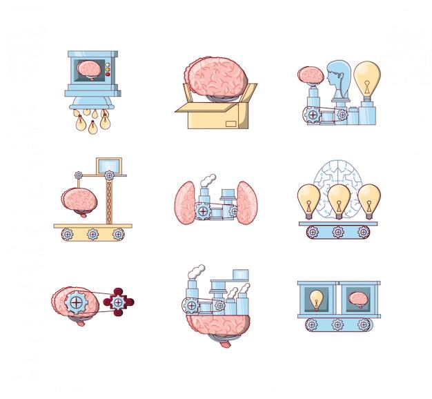 Variety brain icon set pack vector design