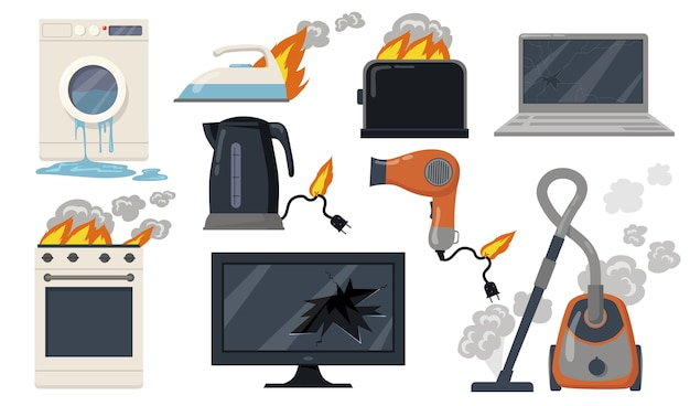 Variety of broken home electrical appliances flat item set. cartoon damaged stove, toaster, vacuum cleaner, laptop isolated vector illustration collection. household and equipment concept