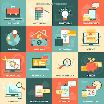 Variety of business icons Premium Vector