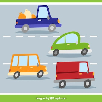 Varietà di automobili sulla strada