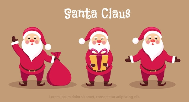 Variety of cartoon santa character