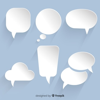 Variety of chat bubbles collection in paper design