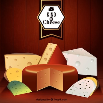 Variety of cheese realistic background