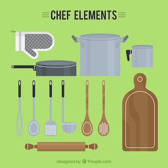Variety of chef utensils