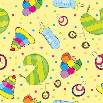 Variety of childrens toys - seamless vector illustration