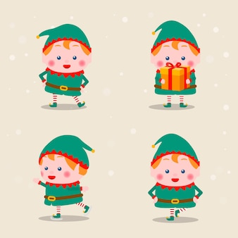 Variety of christmas elves postures collection