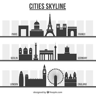 Variety of city skylines