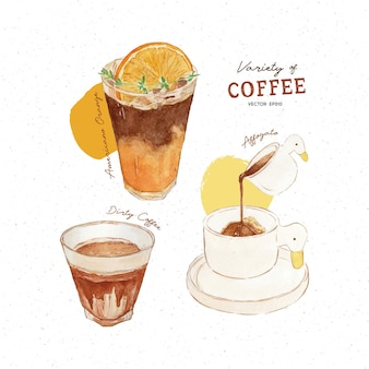 Variety of coffee amerucano orange dirty coffee and affogato watercolor style