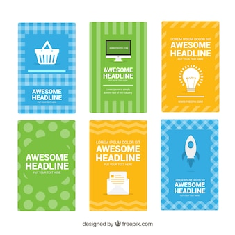 Variety of colored abstract flyers