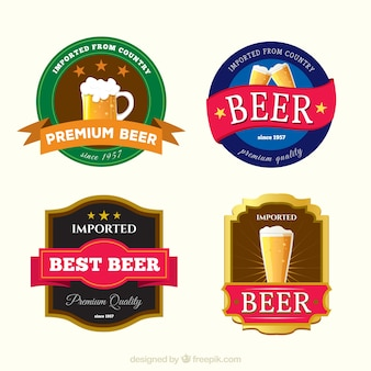 Variety of colored beer labels