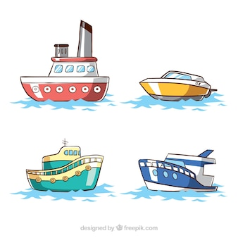 Variety of colored boats