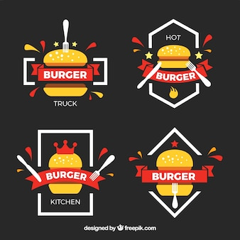 Variety of colored burger logos in flat design