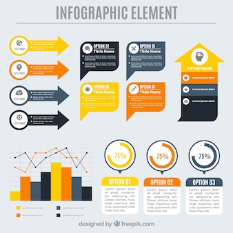 Variety of colored decorative elements for infographics Free Vector