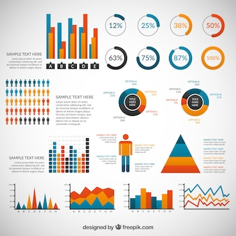 Variety of colored infographic elements
