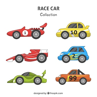 Variety of colored race cars