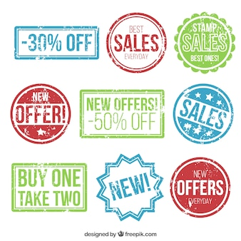 Variety of colored sales stamps Vector | Free Download
