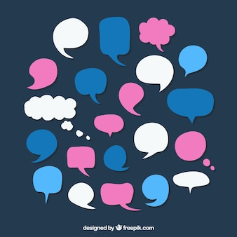 Variety of colored speech bubbles