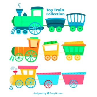Variety of colored toy trains in hand-drawn style