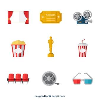 Varietà di elementi teatrali colorati in design piatto