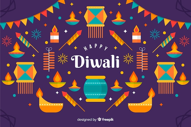 Variety of coloured lights flat diwali background