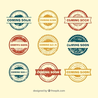 Variety of coming soon stamps
