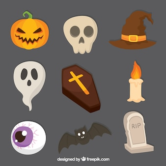 Variety of creepy items for halloween