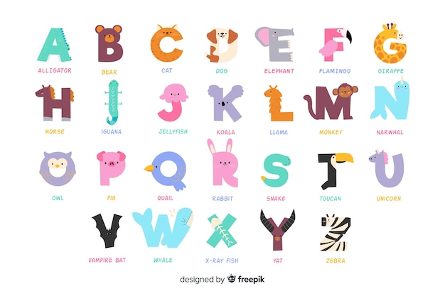 Variety of cute animals forming the alphabet