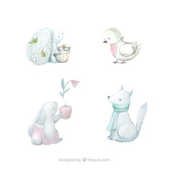 Variety of cute animals in watercolor style