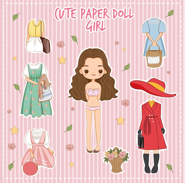 Variety cute dress for paper doll girl vector
