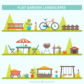 Variety of cute garden landscapes in flat style