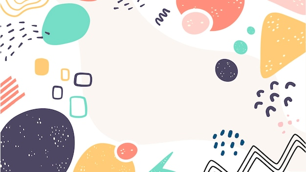 Variety of cute shapes abstract background