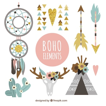 Variety of decorative objects in boho style