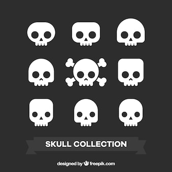 Variety of decorative skulls in flat design