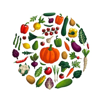 Variety of decorative vegetables with grain texture
