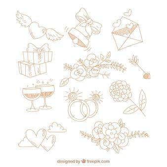 Variety of decorative wedding elements
