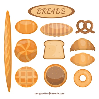 Variety of delicious breads