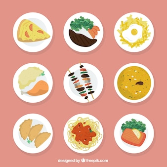 Variety of delicious dishes in top view
