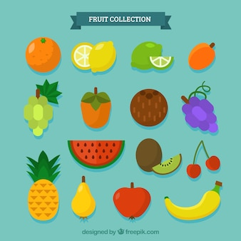 Variety of delicious pieces of fruit